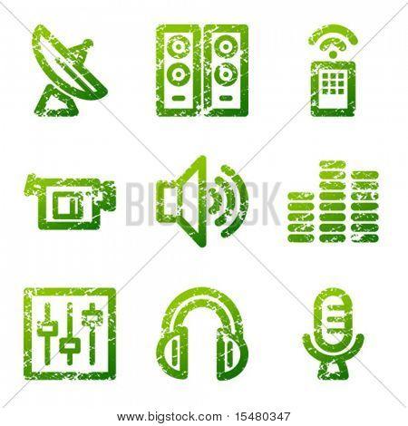 Green grunge media contour icons V2