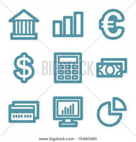 Blue line finance contour icons V2