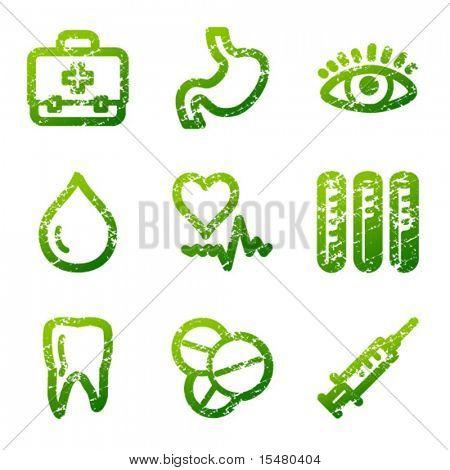Green grunge medicine contour icons V2