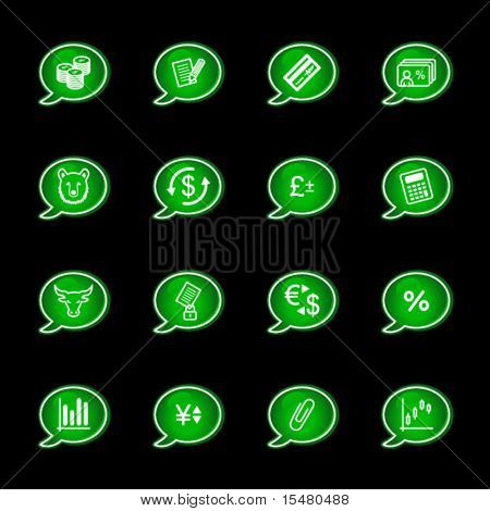 Green bubble finance icons