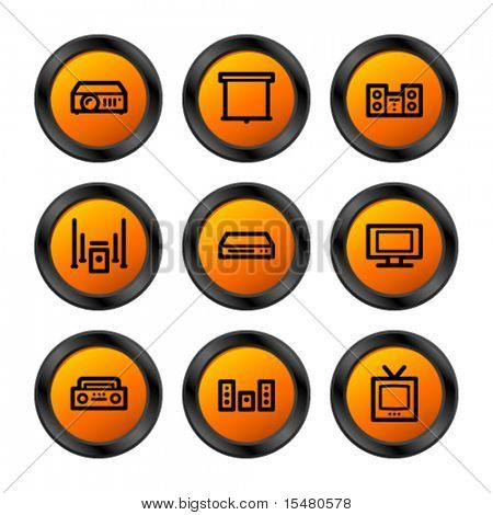 Hi-fi icons, orange circle series