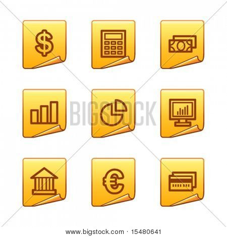 Finance icons, gold sticker series