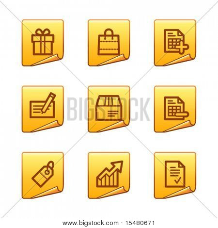 Shopping icons, gold sticker series