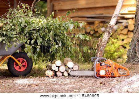 Aufräumarbeiten im Garten