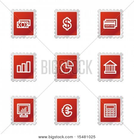 Finance icons, red stamp series