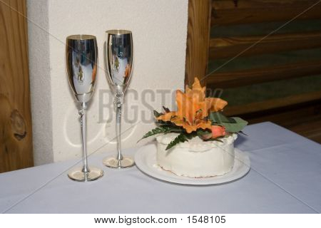 Cake And Champagne Flutes