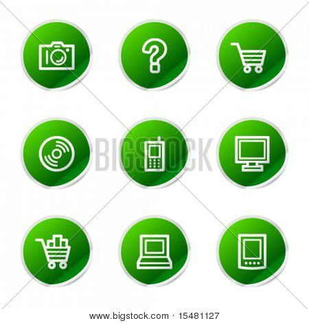 Electronics icons, green stickers series