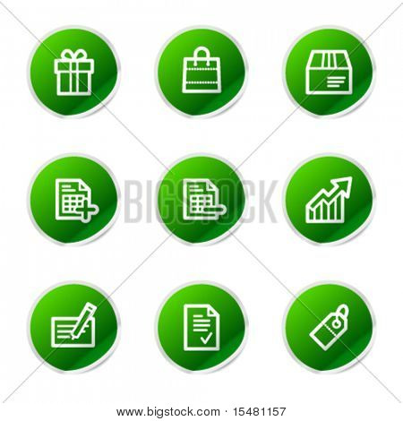 Shopping icons, green stickers series