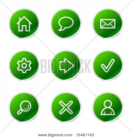 Web icons, green stickers series