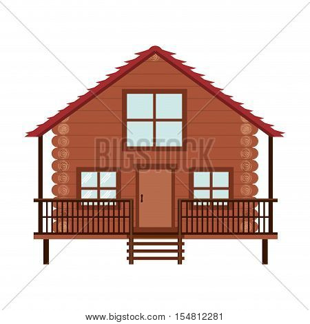 log cabin icon over white background. wooden house. vector illustration