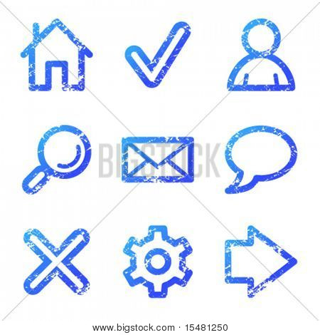 Web icons, blue grunge series