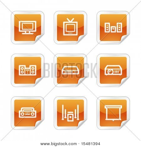 Audio video web icons, orange glossy sticker series