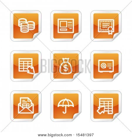 Banking web icons, orange glossy sticker series