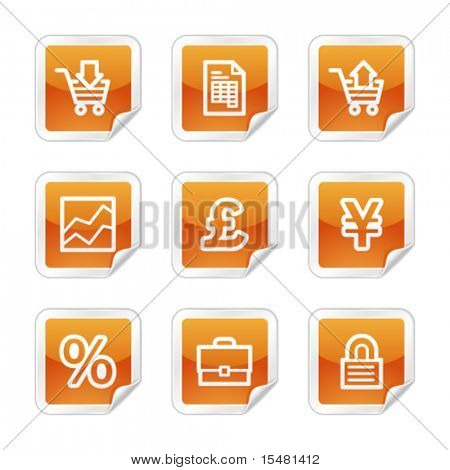 E-business web icons, orange glossy sticker series