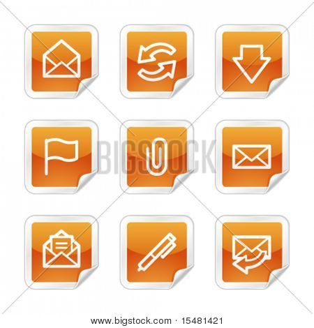 E-mail web icons, orange glossy sticker series