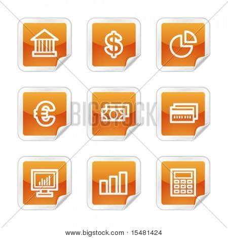 Finance web icons, orange glossy sticker series