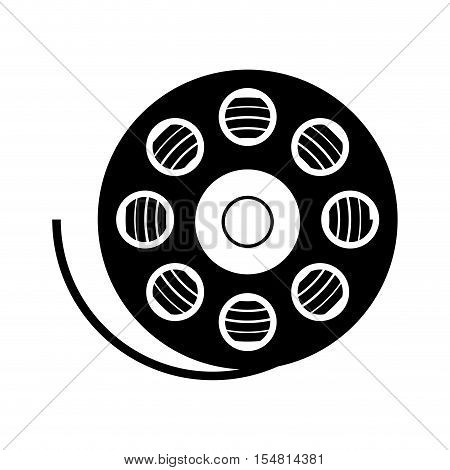 silhouette of movie film reel icon over white background. cinema design. vector illustration