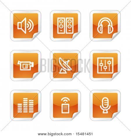 Media web icons, orange glossy sticker series