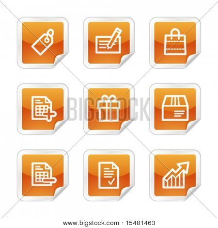Shopping web icons, orange glossy sticker series