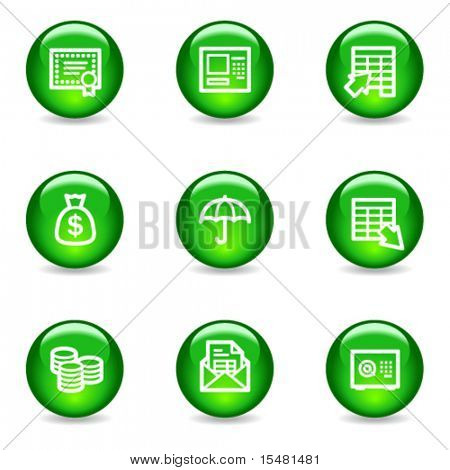 Banking web icons, green glossy sphere series