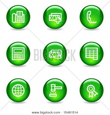 Finance 2 web icons, green glossy sphere series