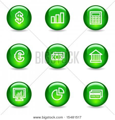 Finance web icons, green glossy sphere series