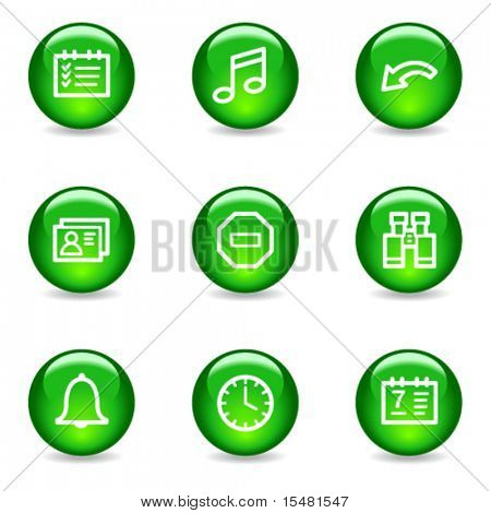 Organizer web icons, green glossy sphere series
