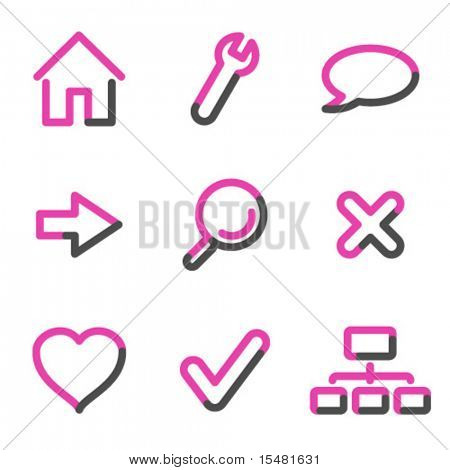 Basic web icons, pink contour series
