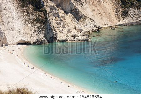 A panorama of the exotic Myrtos Beach in Kefalonia, Greece