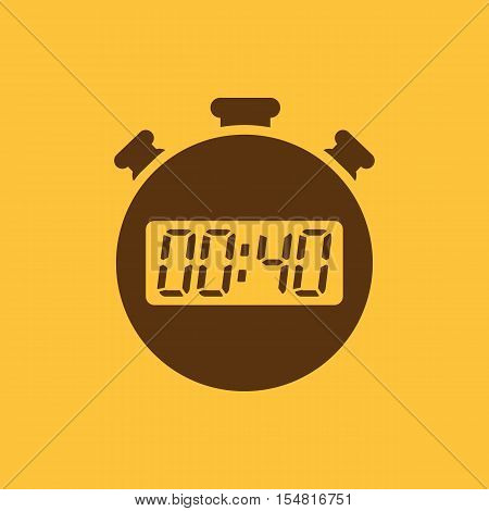 The 40 seconds, minutes stopwatch icon. Clock and watch, timer, countdown, stopwatch symbol. UI. Web. Logo. Sign. Flat design. App. Stock vector