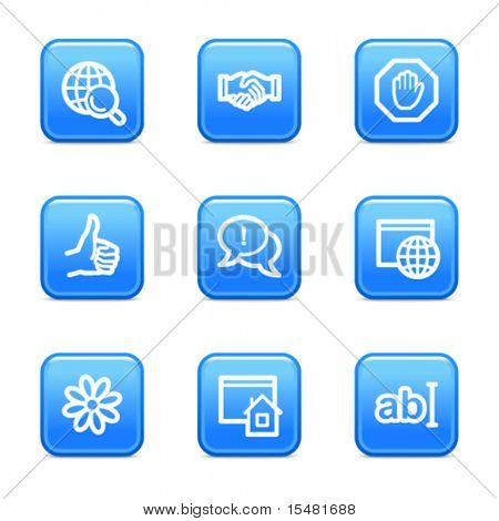 Internet communication web icons, blue glossy buttons series