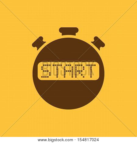 The start stopwatch icon. Clock and watch, timer, countdown, stopwatch symbol. UI. Web. Logo. Sign. Flat design. App. Stock vector