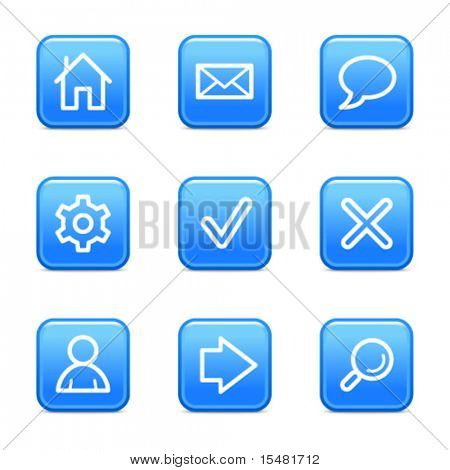 Basic web icons, blue glossy buttons series