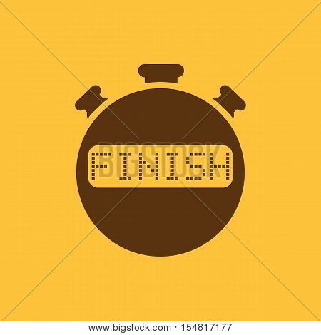 The finish stopwatch icon. Clock and watch, timer, countdown, stopwatch symbol. UI. Web. Logo. Sign. Flat design. App. Stock vector