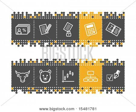 Invest web icons on grey and orange dots bar. Vector file has layers, all icons in two versions are included.