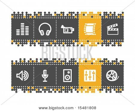 Sound and cinema web icons on grey and orange dots bar. Vector file has layers, all icons in two versions are included.