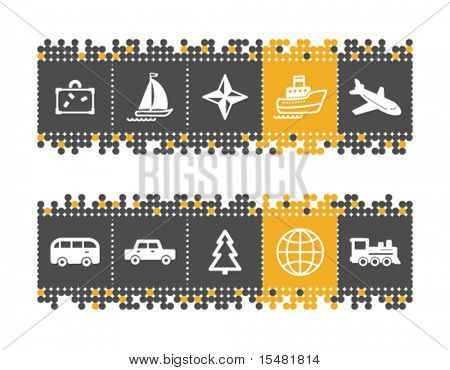 Travel web icons on grey and orange dots bar. Vector file has layers, all icons in two versions are included.