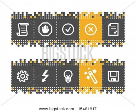 Script web icons on grey and orange dots bar. Vector file has layers, all icons in two versions are included.