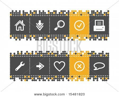 Basic web icons on grey and orange dots bar. Vector file has layers, all icons in two versions are included.