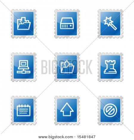 Data web icons, blue glossy stamp series