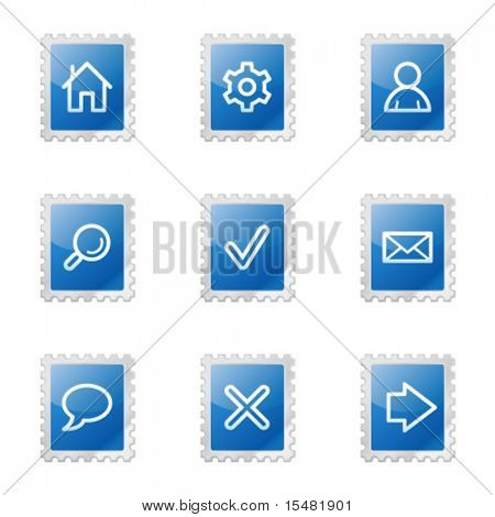 Basic web icons, blue glossy stamp series
