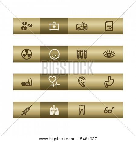 Medicine web icons on bronze bar. Vector file has layers, all icons in two versions are included.