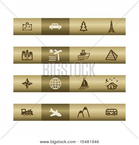 Viagem web ícones na barra de bronze. Arquivo de vetor tem camadas, estão incluídos todos os ícones em duas versões.