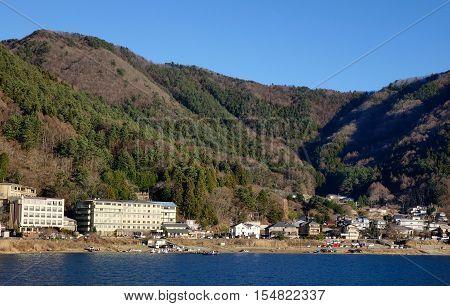 Kawaguchi-ko Lake With Township