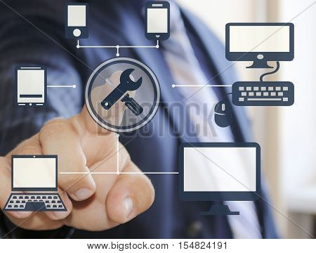Businessman pressing the technical support button on virtual touch screens. Repair and maintenance business 24/7.Business, technology, Internet and networking concept. Support 24 hours a day.