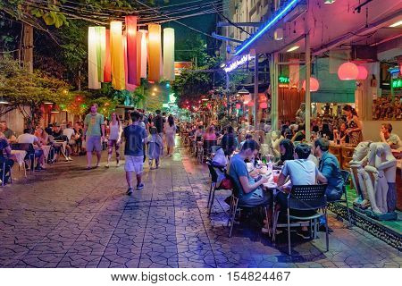 Bangkok, Thailand - December 21, 2015: Rambuttri Alley at night a popular food street close to Khaosan road and famous district for back packer and budget tourist.