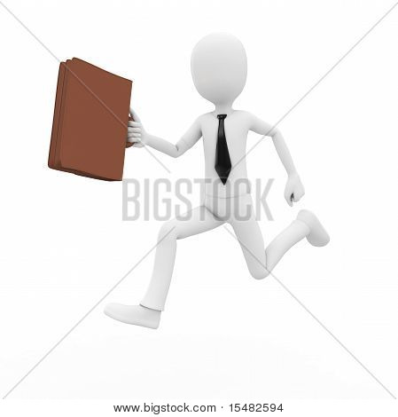 3D Man Businessman Running With Briefcase
