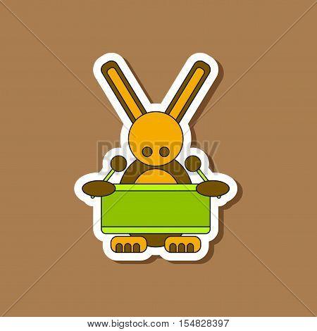 paper sticker on stylish background of Kids toy rabbit drummer