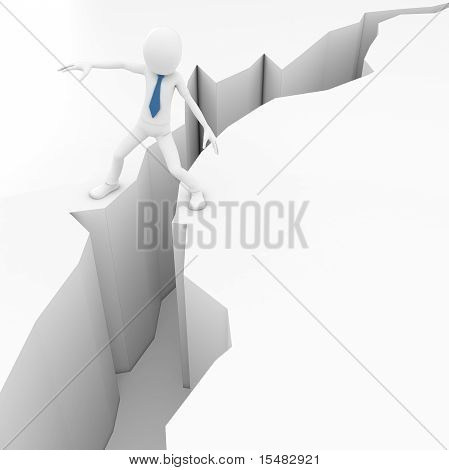 3D Man With Earthquake Crack