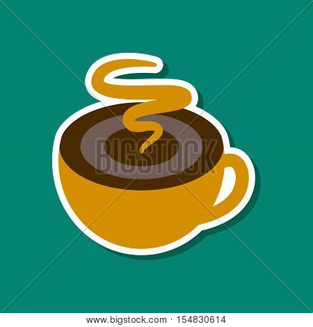 paper sticker on stylish background of coffee cup flavor